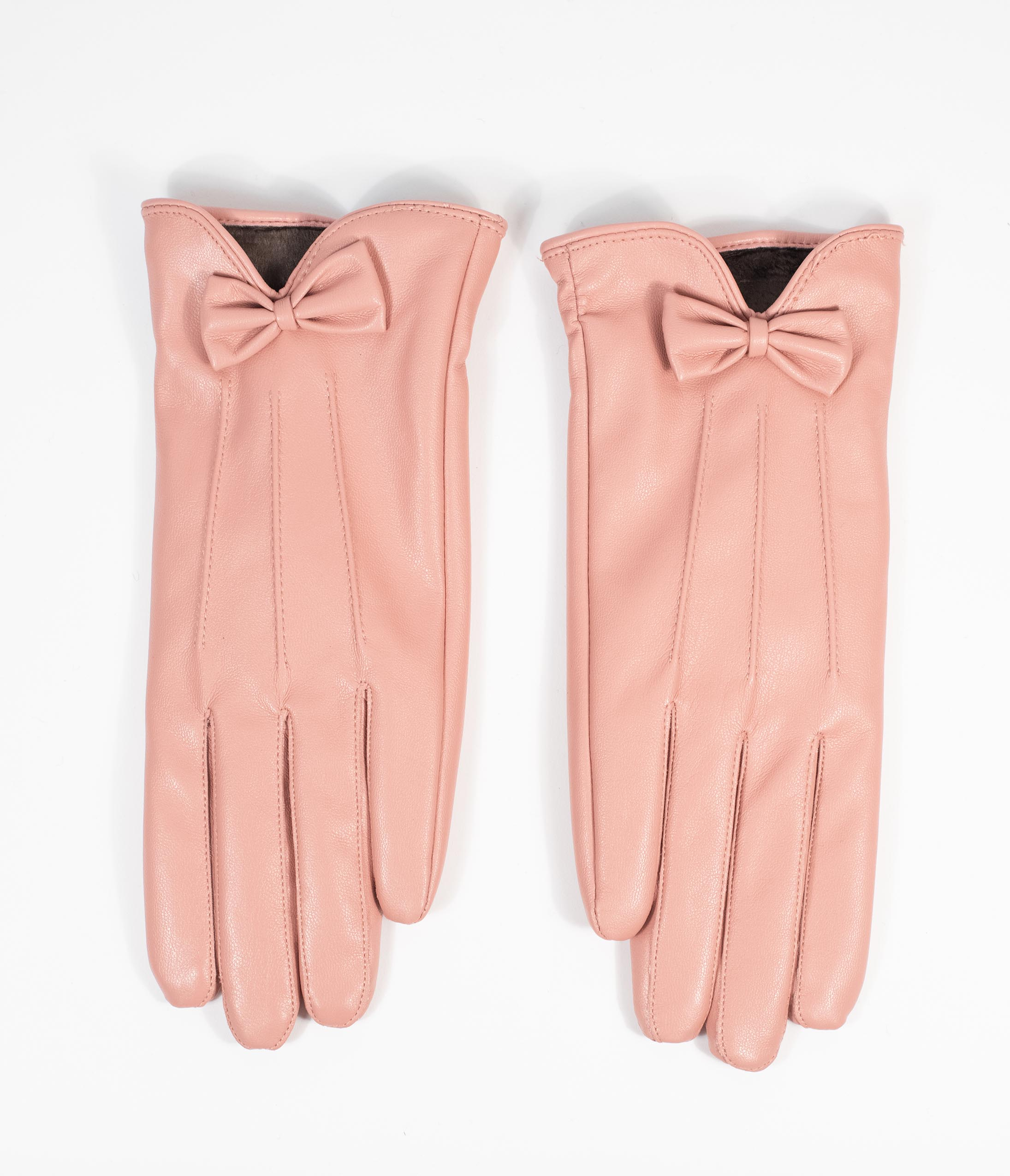 Vintage Style Gloves- Long, Wrist, Evening, Day, Leather, Lace Unique Vintage Light Pink Leatherette Bow Wrist Gloves $24.00 AT vintagedancer.com
