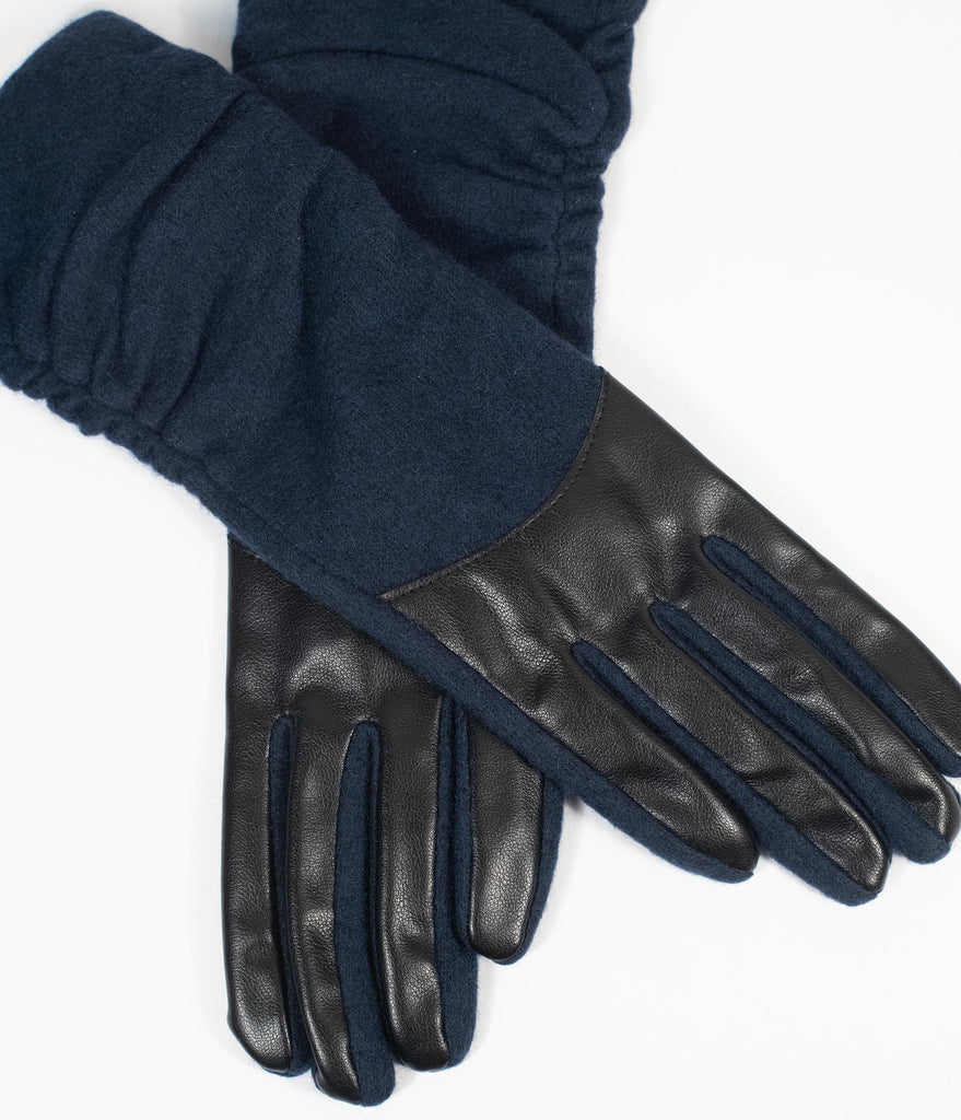 Unique Vintage Navy Blue & Black Leatherette Wrist Gloves