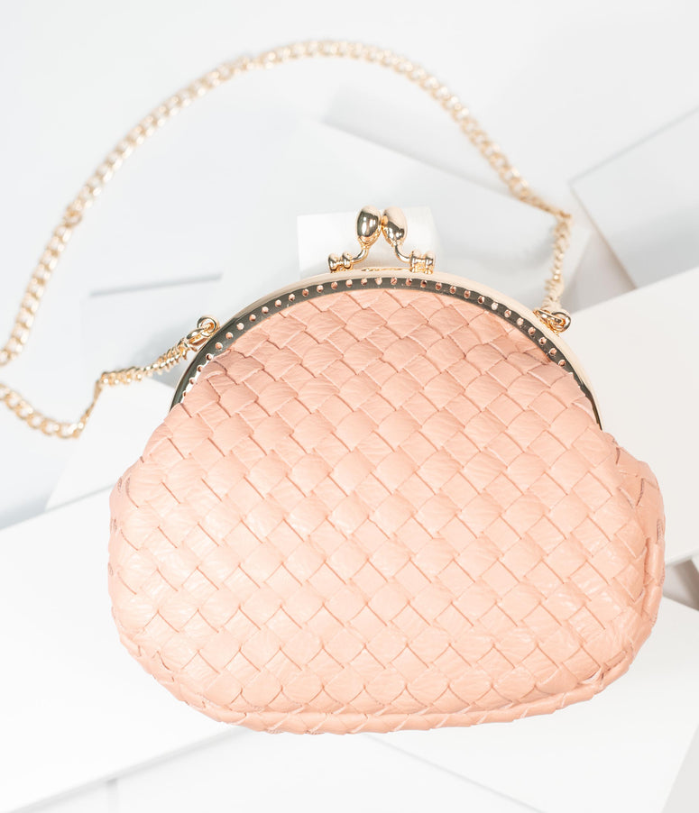 Unique Vintage Dusty Pink Woven Leatherette Handbag