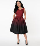 1950s Black & Burgundy Ombre Martina Swing Dress