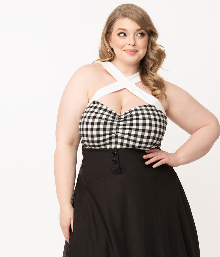 Unique Vintage Plus Size Black & White Gingham Porter Top