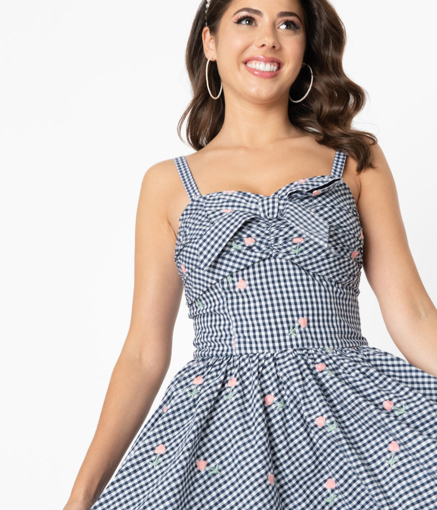 Unique Vintage 1950s Navy Gingham & Pink Florals Golightly Swing Dress