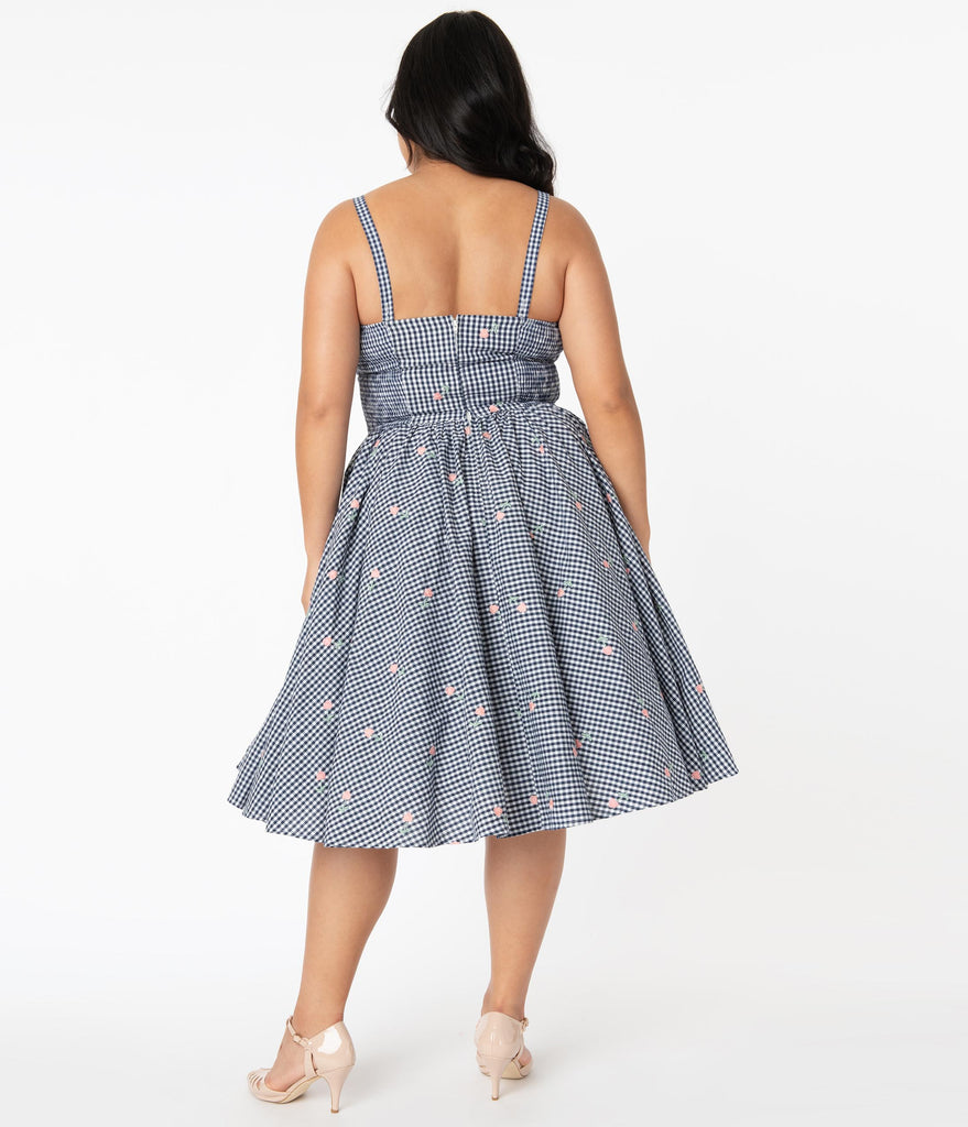 Unique Vintage Plus Size 1950s Navy Gingham & Pink Florals Golightly Swing Dress