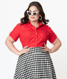 Unique Vintage Plus Size Red Mazzie Blouse