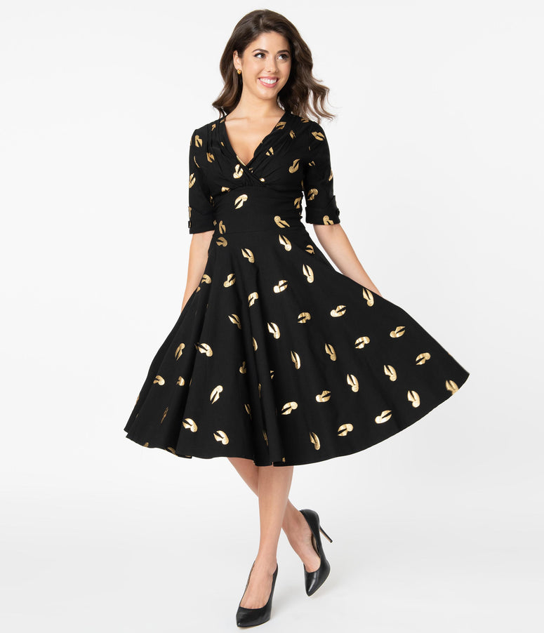 Harry Potter x Unique Vintage Golden Snitch Print Delores Swing Dress