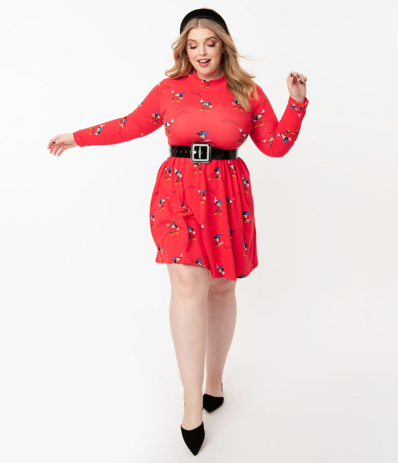 Cakeworthy Plus Size Red & Sorcerer Mickey Print Flare Dress