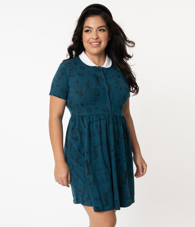 Cakeworthy Plus Size Disney Haunted Mansion Print Fit & Flare Dress