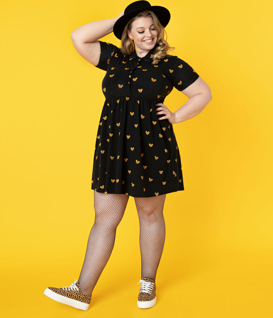 Cakeworthy Plus Size Pumpkin Mickey Print Fit & Flare Dress