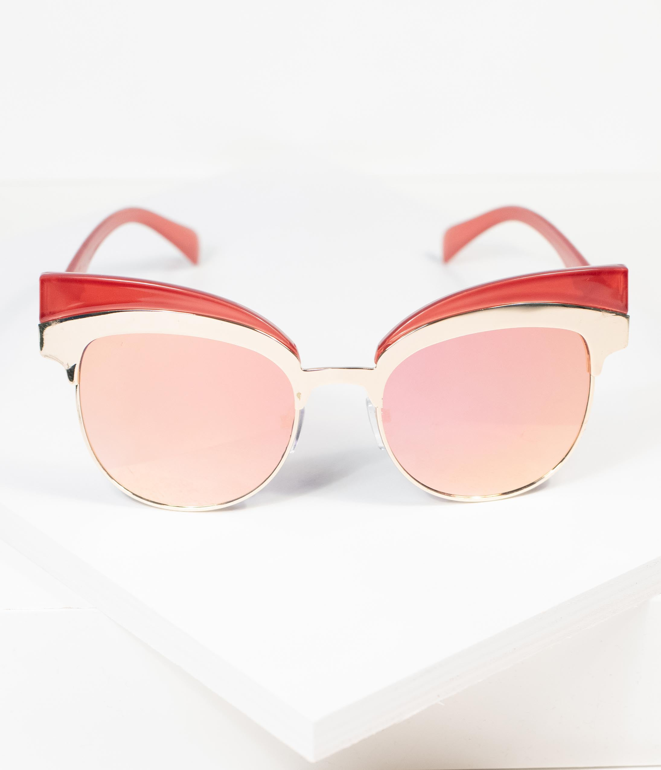 1950s Sunglasses & 50s Glasses | Retro Cat Eye Sunglasses Retro Red  Gold Reign Cat Eye Sunglasses $24.00 AT vintagedancer.com