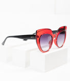 Dark Red Grin Cat Eye Sunglasses
