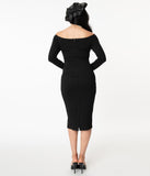 Unique Vintage 1960s Black Cape Cod Wiggle Dress