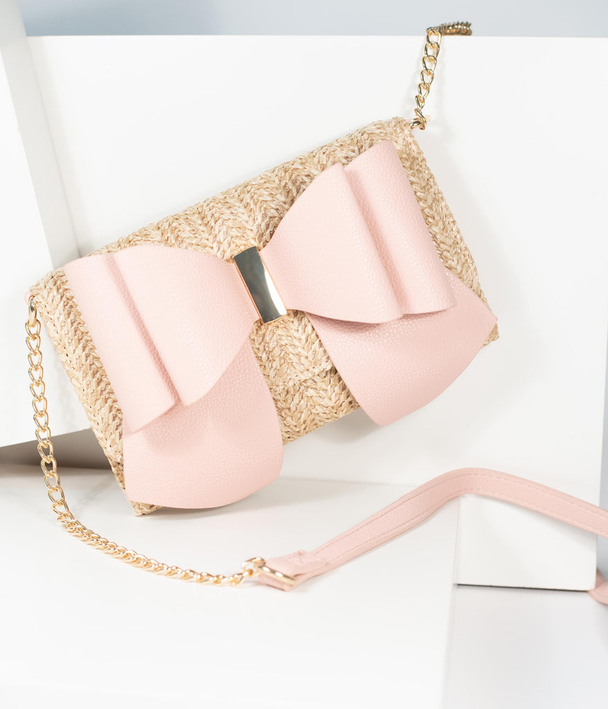 Blush Pink Leatherette & Wicker Trifold Wallet Purse