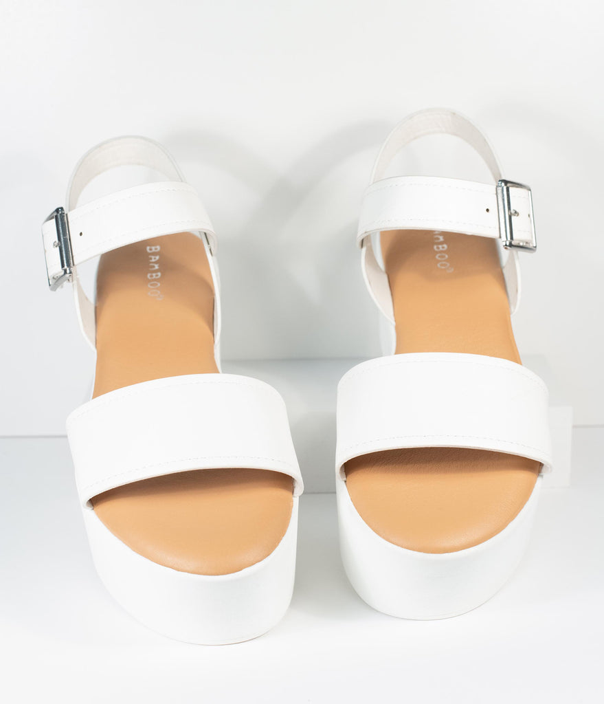White Leatherette Platform Sandals