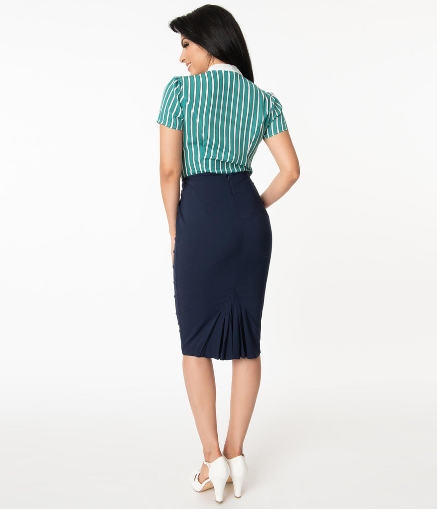 Unique Vintage Navy Blue Tracy Wiggle Skirt