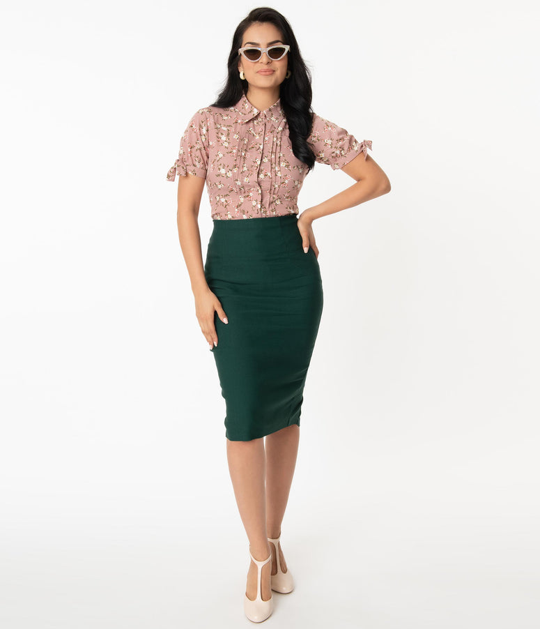 Unique Vintage Dark Green Tracy Wiggle Skirt