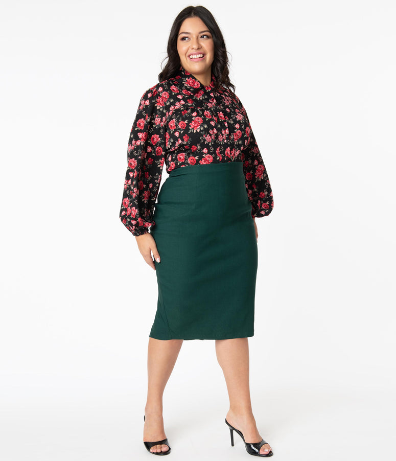 Unique Vintage Plus Size Dark Green Tracy Wiggle Skirt