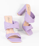 Light Purple Woven Leatherette Peep Toe Heels