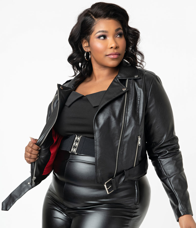 Grease x Unique Vintage Plus Size Black Vegan Leather Greaser Jacket