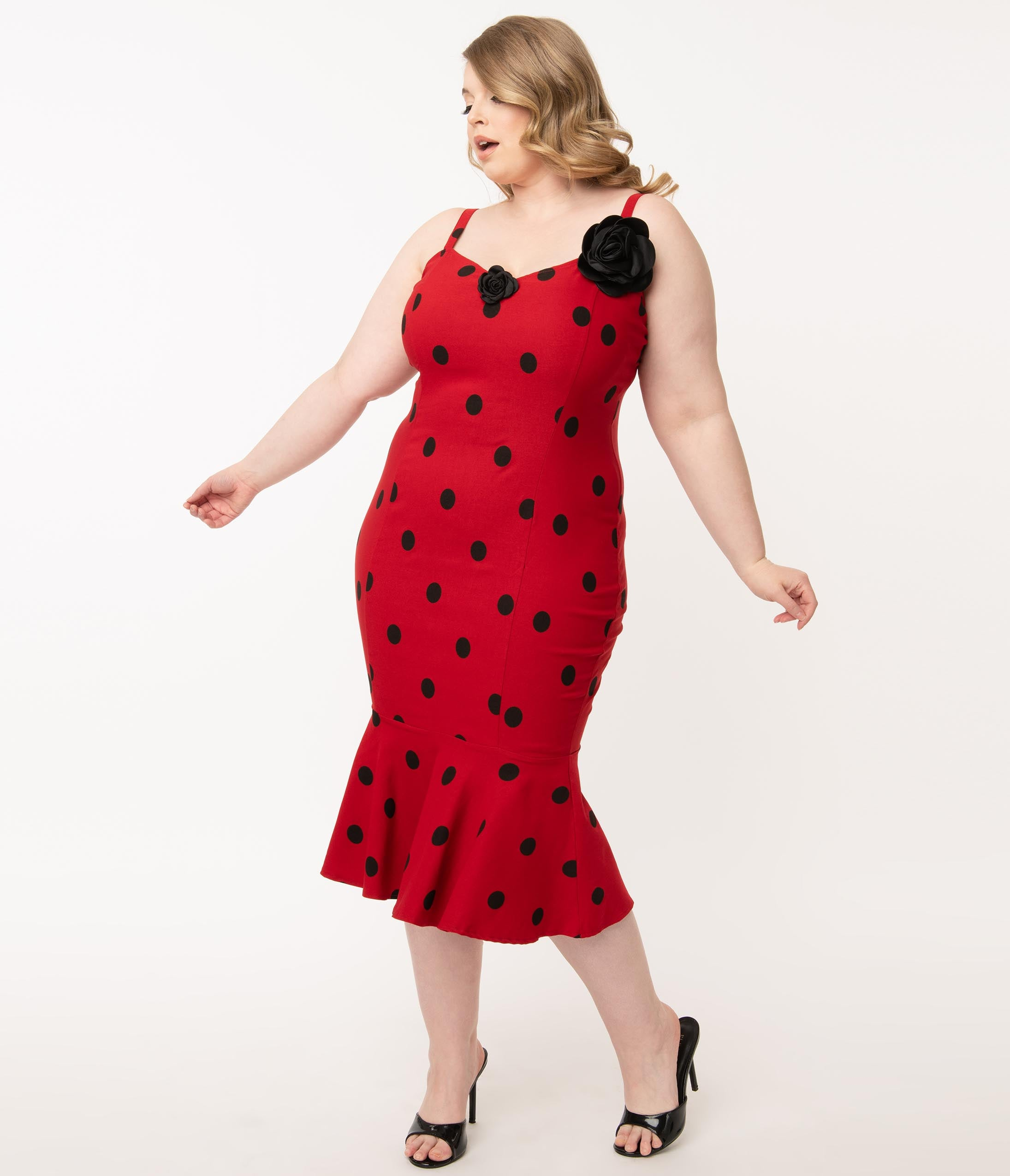 1950s Plus Size Dresses, Swing Dresses Grease X Unique Vintage Plus Size Red  Black Polka Dot Rizzo Wiggle Dress $98.00 AT vintagedancer.com