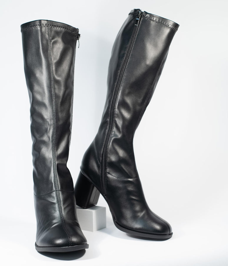 Black Leatherette Knee High Go Go Boots