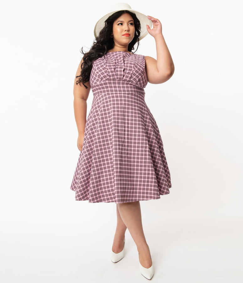 Unique Vintage Plus Size 1950s Pink & Black Plaid Monaco Swing Dress