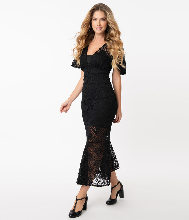 Vintage Style Black Lace Rapture Wiggle Dress