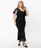 Plus Size Vintage Style Black Lace Rapture Wiggle Dress