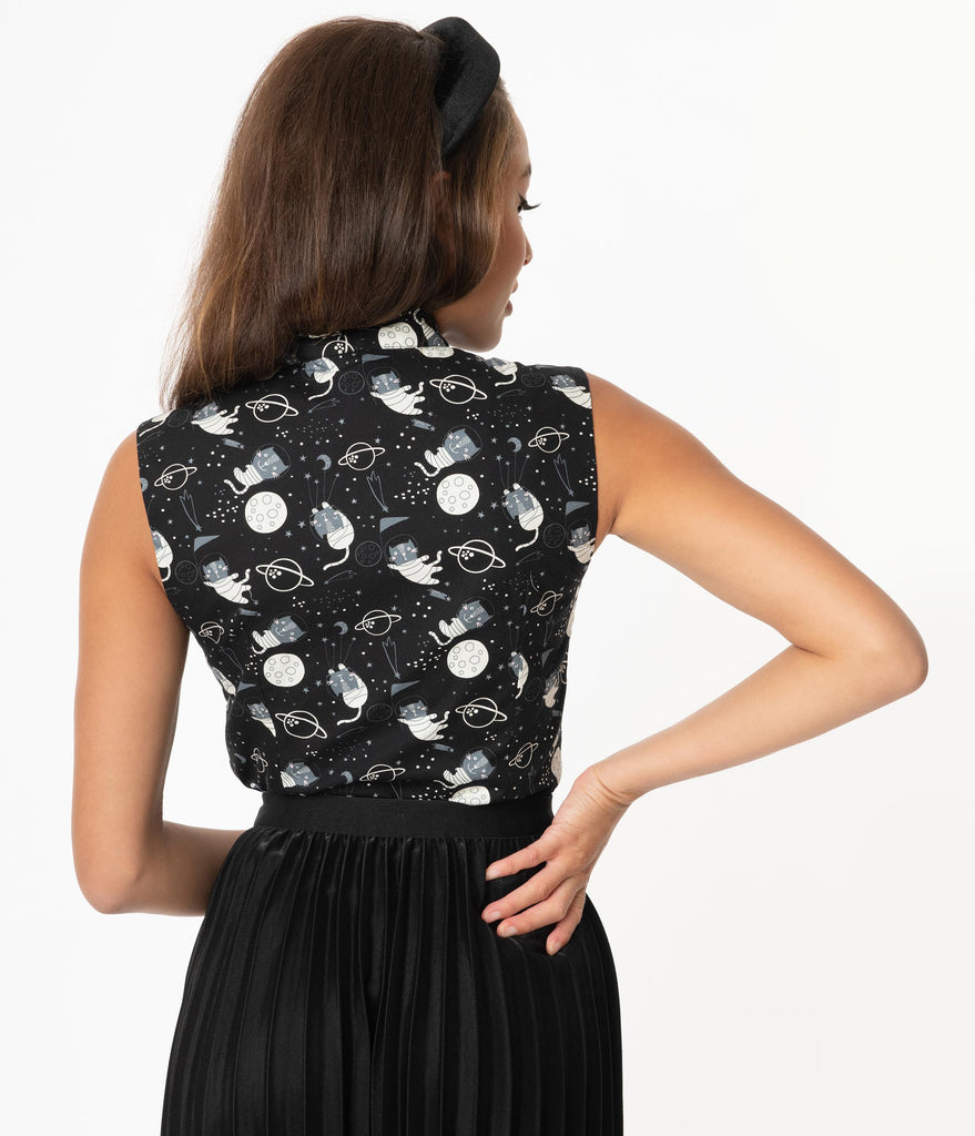 Black & Space Cat Print Sleeveless Bow Blouse