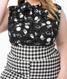 Plus Size Black & Space Cat Print Sleeveless Bow Blouse