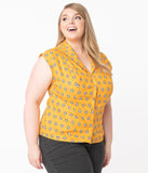 Plus Size Mustard & French Bulldog Print Tamara Blouse