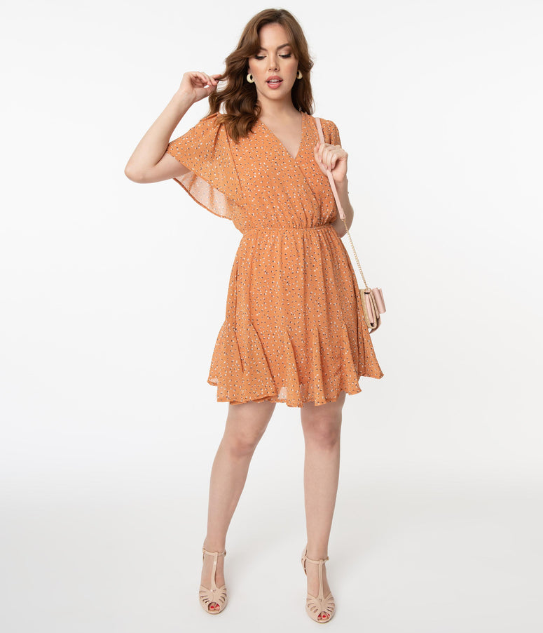 Apricot Orange & Freckled Print Fit & Flare Dress