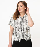 White & Black Reptile Print Oversized Blouse