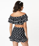 Unique Vintage Black & White Polka Dot Alice Swim Skirt
