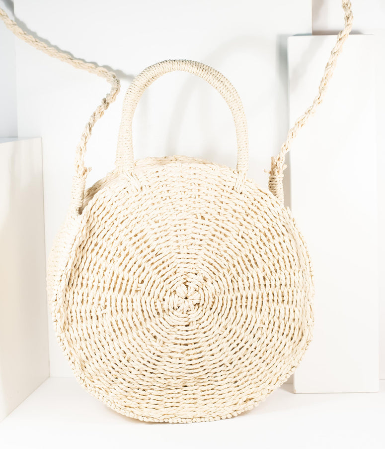 Tan Woven Wicker Round Handbag