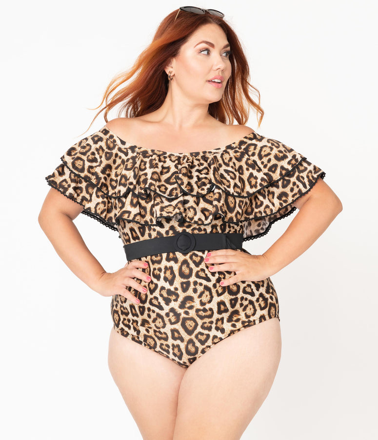 Unique Vintage Plus Size Leopard Print Off Shoulder Nantucket Swimsuit