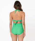 Unique Vintage Green & White Pin Dot Monroe High Waist Swim Bottom