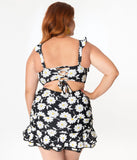 Unique Vintage Plus Size Black & White Daisy Print Alice Swim Skirt