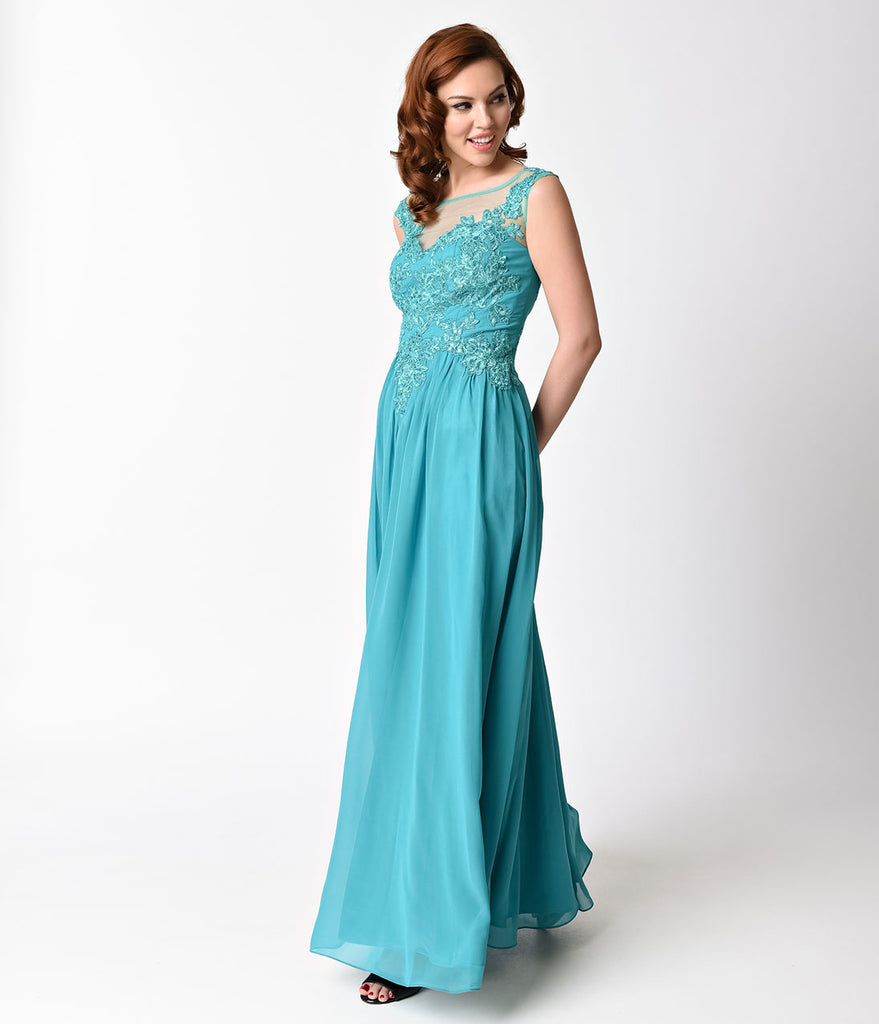 Jade Green Embellished Chiffon Long Dress – Unique Vintage