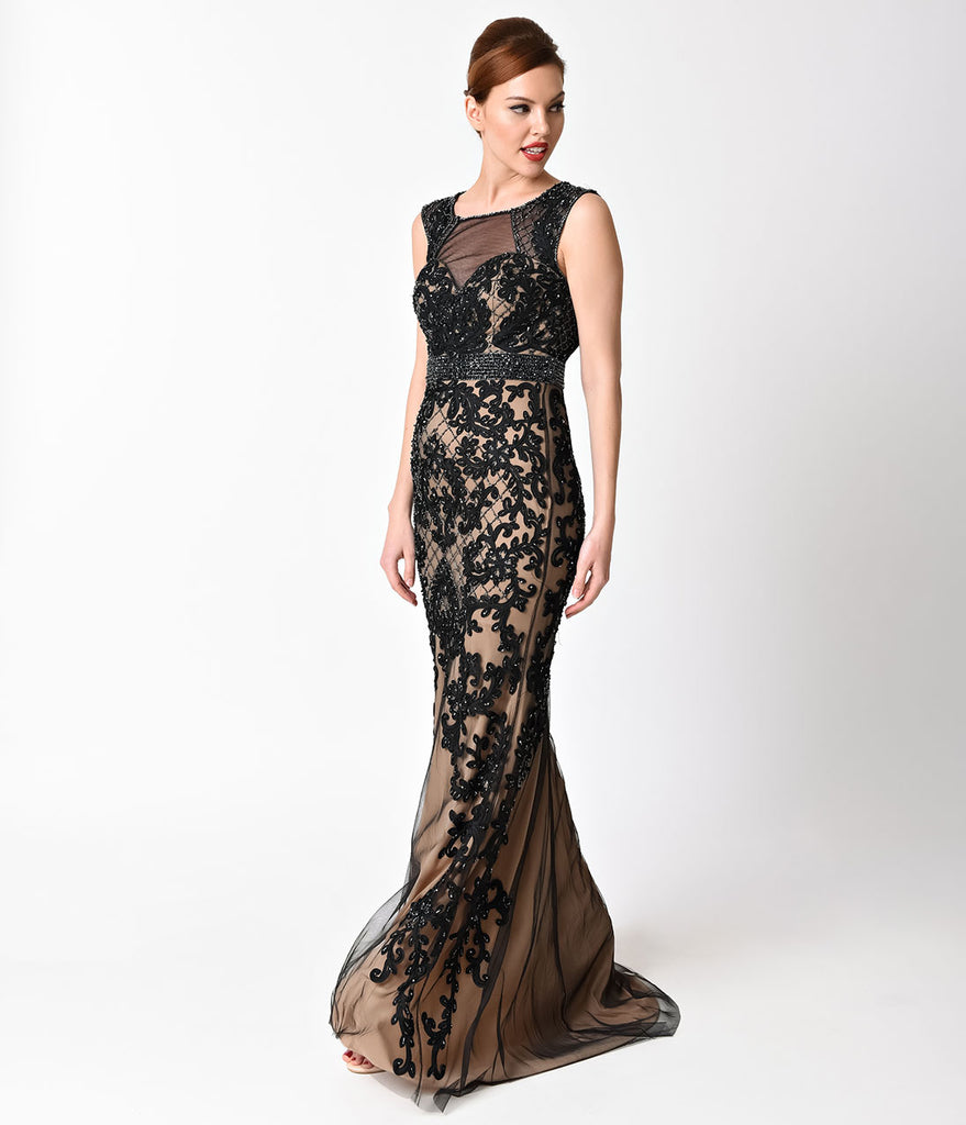 1d743f2800 Source https   www.unique-vintage.com products black-lace-sexy-sleeveless- long-gown