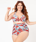 Unique Vintage Plus Size Tropical Print & Red Hibiscus Monroe Halter Swim Top