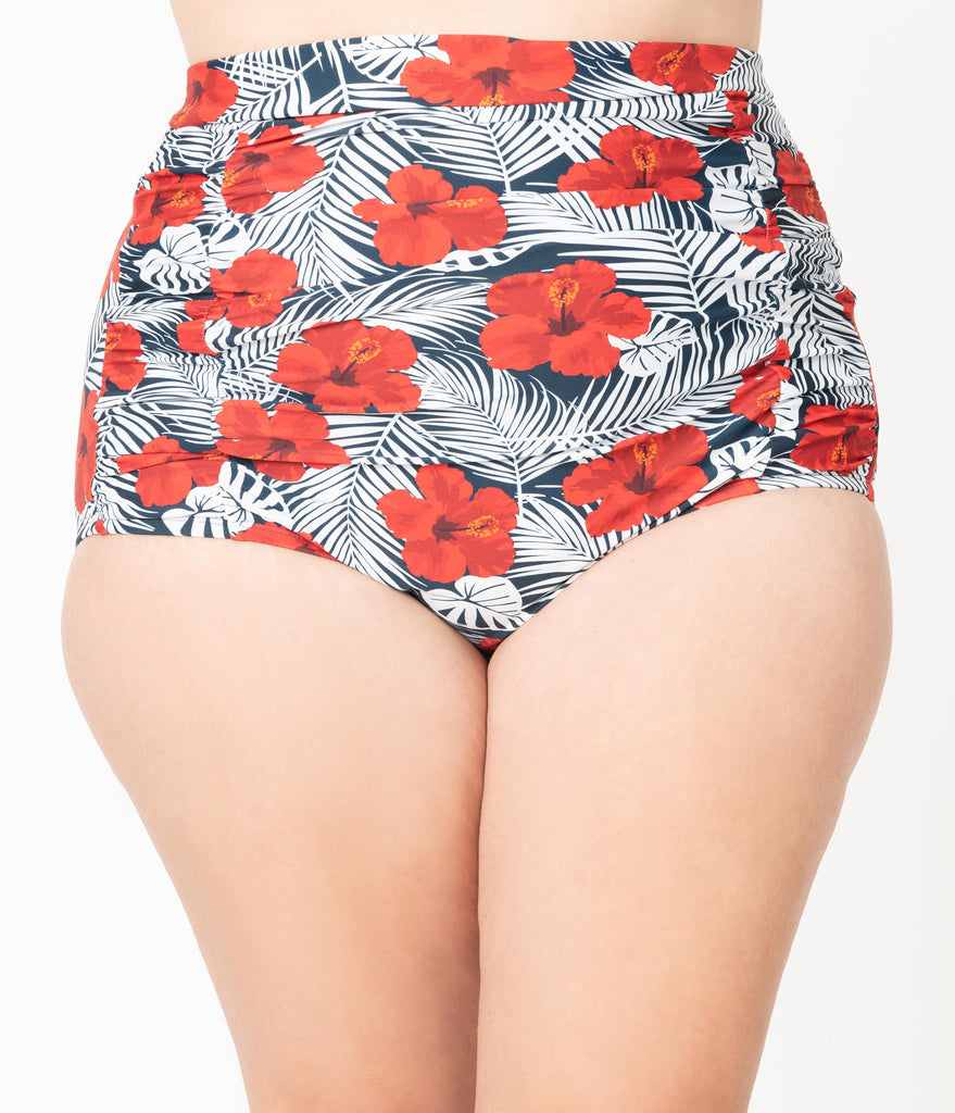 Unique Vintage Plus Size Tropical Print & Red Hibiscus Monroe High Waist Swim Bottom