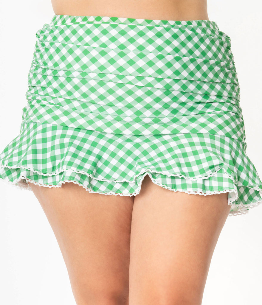 Unique Vintage Plus Size Green & White Gingham Alice Swim Skirt