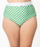 Unique Vintage Plus Size Green & White Gingham Belted Retro Redondo Swim Bottoms