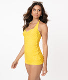 Unique Vintage Yellow & White Pin Dot Corinne Halter Sheath Swimsuit