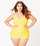 Unique Vintage Plus Size Yellow & White Pin Dot Corinne Halter Sheath Swimsuit