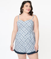 Plus Size Smocked Sweetheart Floral Plaid Print Spaghetti Strap Cotton Vintage Romper With a Bow(s)