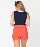Retro Style Red Orange High Waist Sailor Shorts