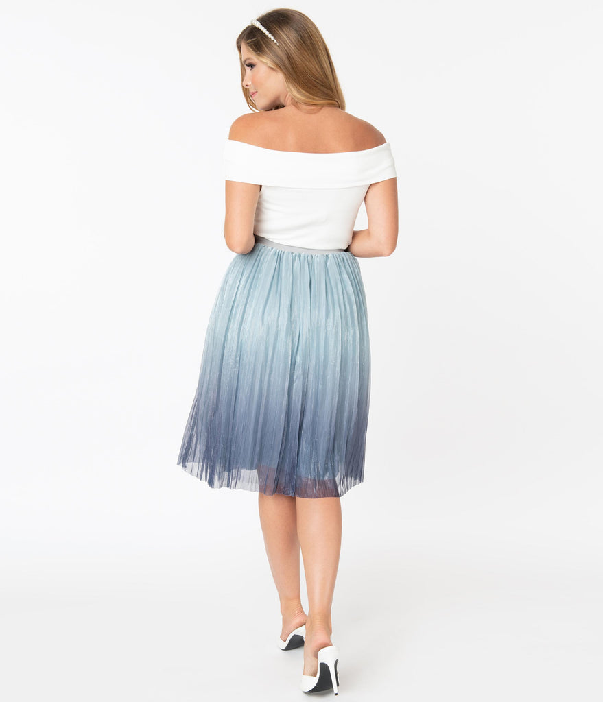 Vintage Style Blue & Silver Ombre Swing Skirt