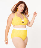 Unique Vintage Plus Size 1950s Mrs. West Yellow & White Pin Dot Halter Swim Top