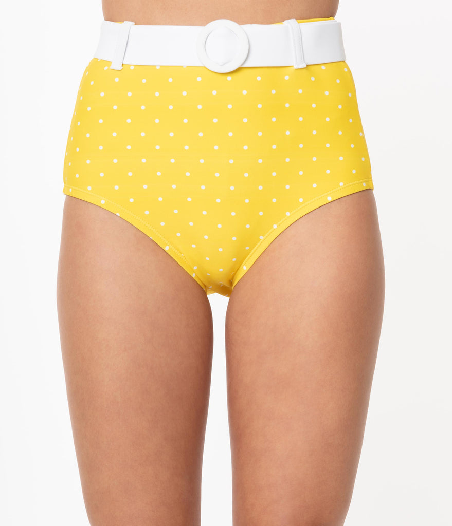 Unique Vintage Yellow & White Pin Dot Belted Retro Redondo Swim Bottoms